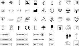 Termine los símbolos de empaquetado médicos Imágenes de archivo libres de regalías