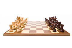 Termine o grupo de xadrez de madeira foto de stock