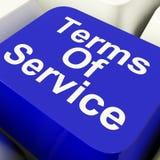 Termini del tasto del computer di servizio nell'accordo di mostra blu del sito Web Fotografia Stock