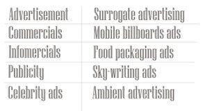 Termini di pubblicità in inglese Immagine Stock