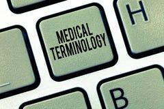 Terminologi för läkarundersökning för textteckenvisning Begreppsmässiga det van vid fotospråket beskriver exakt huanalysiskroppen royaltyfri foto