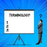 Terminologia do texto da escrita da palavra Conceito do negócio para a coleção dos termos usados pela indústria diferente do estu ilustração stock