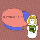 Terminologia do texto da escrita da palavra Conceito do negócio para a coleção dos termos usados pela menina diferente da indústr ilustração stock