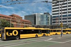 Terminus public d'autobus à Wellington, Nouvelle-Zélande Photographie stock libre de droits
