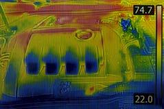 Termisk bild för bilmotor Arkivbild