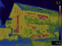 Termisk bild för hus Arkivfoton