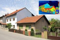 Termisk bild på hus Arkivfoto