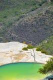 Termisk mineralisk vår och den konstgjorda pölHierve el aguaen, Oaxaca, Mexico 19th Maj 2015 Arkivfoto
