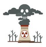 Termiska kraftverk och giftliga utsläpp stock illustrationer
