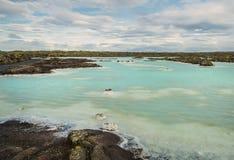 Termiska vårar med smaragdvatten iceland blå lagun arkivbilder
