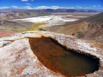 Termiskt vatten med sikt till Antofalla långa Salar Fotografering för Bildbyråer