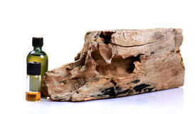 Termite medicine. Bottles with termite effected wood Stock Photo
