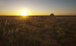Termite Mound at Sunset Royalty Free Stock Photos