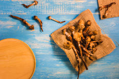 Termite Mushroom on a wooden table in blue. Stock Photos