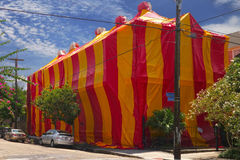 Termite Tent. Old Lower Garden District mansion tented for termite fumigation in New Orleans Stock Image