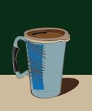 Termo azul de la taza con la manija Foto de archivo libre de regalías