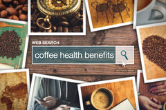 Termo do glossário da barra da busca da Web - benefícios de saúde do café imagem de stock royalty free