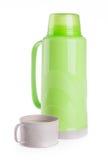 Termo, termo boccetta di plastica su fondo. fotografie stock