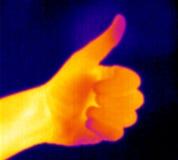 Termografo-Pollice in su Immagini Stock