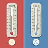 Termometer av celsiust och Fahrenheit Meteorologi och olik temperaturförkylning och värme klar vektor för nedladdningillustration royaltyfri illustrationer