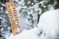 Termometer med den subzero temperaturen som klibbas i snön royaltyfri bild