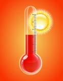 Termometer med sunen. Hoat väder. Royaltyfria Bilder