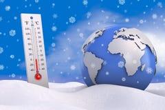 Termometer och jordklot Arkivfoto