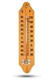 Termometer på trägrund med den celsiusa skalan Symbol för din des Royaltyfri Fotografi