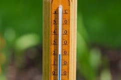 Termometer som 20 grad är celsius på naturbakgrund Arkivbild