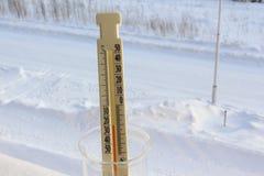 Termometern visar -20 på gatan Royaltyfria Bilder