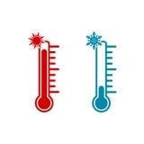 Termometersymbol som är varm och som är kall med solen och snöflingan royaltyfri illustrationer