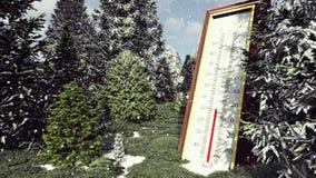 Termometr Fahrenheit Celsius w lesie pokazuje obniżanie temperaturę Pojęcie globalna deaktywacja świadczenia 3 d royalty ilustracja