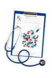 Termometr z pigułka stetoskopem i RX formą zdjęcie stock