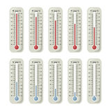 Termometrar med olik temperatur på dem Vektorillustrationuppsättning vektor illustrationer