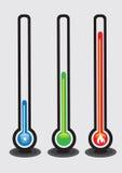 Termometrar och temperaturvektorillustration Fotografering för Bildbyråer