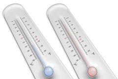 Termometrar på vit bakgrund Arkivfoton