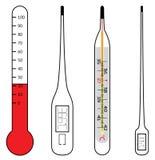 Termometri di mercurio ed elettrici Fotografia Stock
