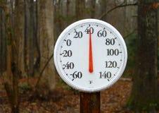 Termometro all'aperto della sorgente Fotografie Stock Libere da Diritti
