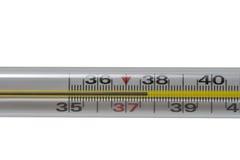 Termometro con la macro ad alta temperatura Fotografia Stock
