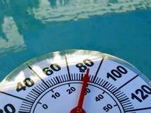 Termometro contro acqua Fotografie Stock Libere da Diritti