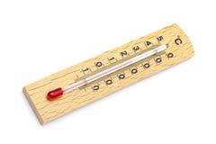 Termometro di legno immagini stock
