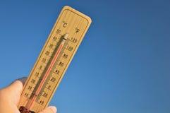 Termometro di legno di Mercury Fotografia Stock