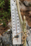 Termometro di legno sul vecchio palo di legno Immagine Stock