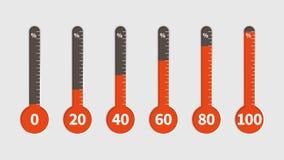Termometro di percentuale Misura di temperatura, indicatore di percentuali con la scala di progresso, clima differente temporaneo illustrazione di stock