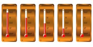 Termometro di rame della vecchia scuola Fotografie Stock Libere da Diritti