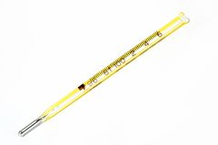 Termometro giallo Immagine Stock