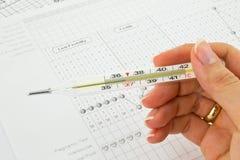 Termometro, grafici e diagramma di fertilità Fotografia Stock Libera da Diritti