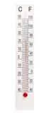 Termometro a mercurio domestico su fondo bianco Fotografia Stock