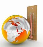 Termometro o riscaldamento globale di calore Fotografie Stock