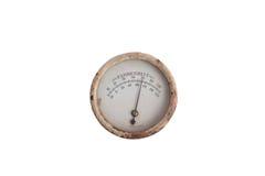 Termometro rotondo d'annata analogico Immagine Stock
